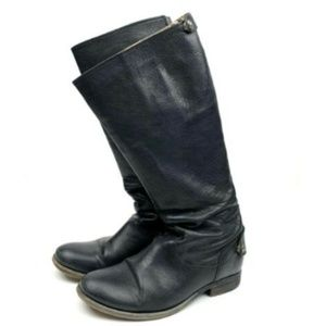 Frye Black Leather Melissa Riding Boots